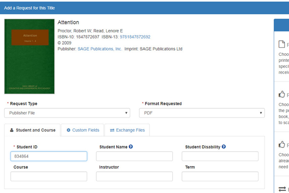 Screen capture of the AccessText Network request file page.